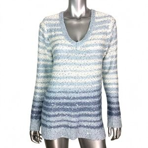 Liz Claiborne Striped Metallic V-Neck Sweater L